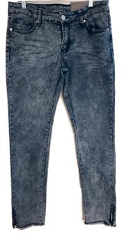 Blue Gray Skinny Fray Jeggings