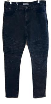 Black Gray Rib Skinny Jeans