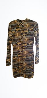 Camo Zipper Mid Dress