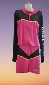 Baby Phat Pink Black Mesh Net Shorts Set