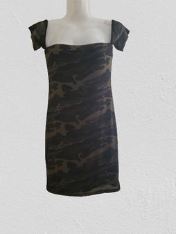 Camo Mesh Over Shoulder Mini Dress