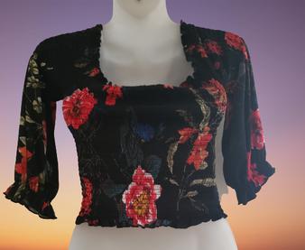 Black Floral Ruffle Cross Wrap