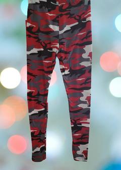 Red Gray Camo Leggings