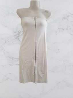 White Tube Zipper Mini Dress