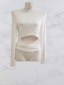 White Open Cut Front Top