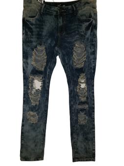 Med Blue Distressed Skinny Jeans