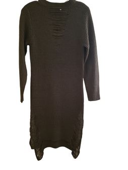 Green Distressed Sweater Dress