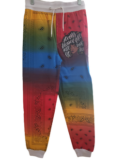 Red Blue Peach Strong Blessed Joggers