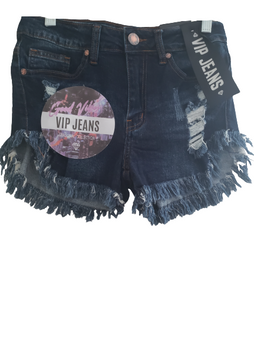 Blue Jean Distressed Fray Booty Shorts