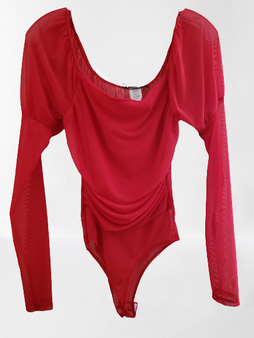 Red Mesh Puff Body Suit
