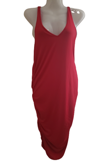Red Gather Ranch Dress