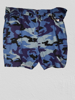 Blue Camo Twill Belted Shorts