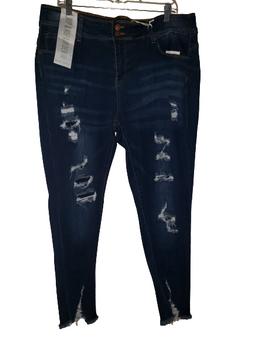 Dark Blue Ripped Hem Jeans