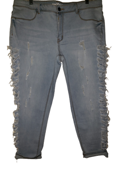 Sky Blue Side Distressed Ripped Jeans
