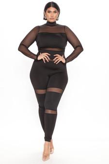 Black Mesh Jump Suit