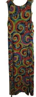 Blue Swirl Pencil Strap Slit Side Dress