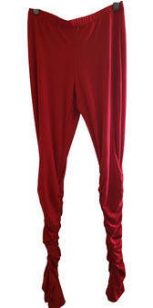 Red Rouch Slit Pants