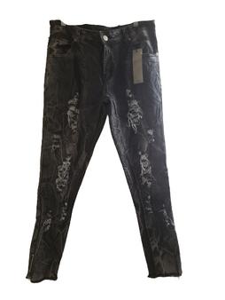 Gray Black Wash Distressed Skinny Jeans