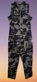 Purple White Camo Halter Cuff Jeans Jumper