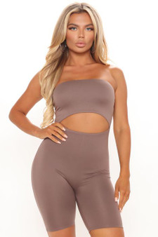 Taupe Double Lined Cut Out Romper