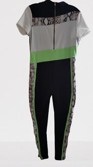 Black Lime White Zip Jump Suit