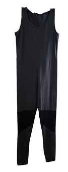 Gray Black Mesh Leg Inset Jump Suit
