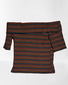 Striped Over Shoulder Tops