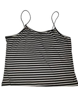 Black White Stripe Bungie Crop