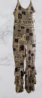 Newspaper Strap Halter Jump Suit