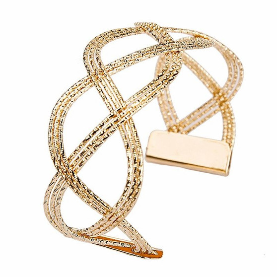 Punk Style Big Wide Gold Color Charm Hollow CuffSize