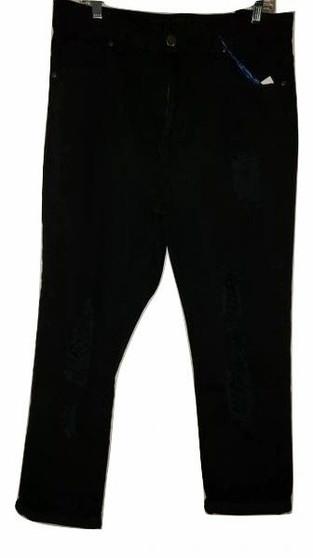 Black Denim Wash Leg Ripped Skinny Jeans