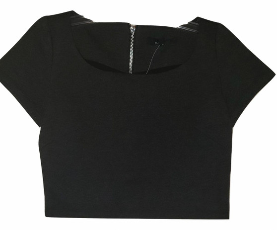 Dark Gray Zipper Back Top