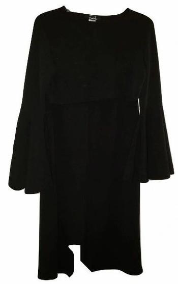 Black Crop Top Wide Slit Pants Set