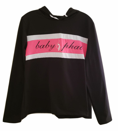 Baby Phat Black Pink White Pull Over Hoodie
