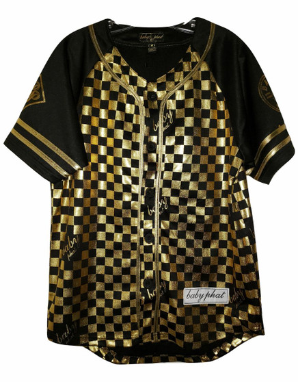 Baby Phat Black Gold Button Down Jersey