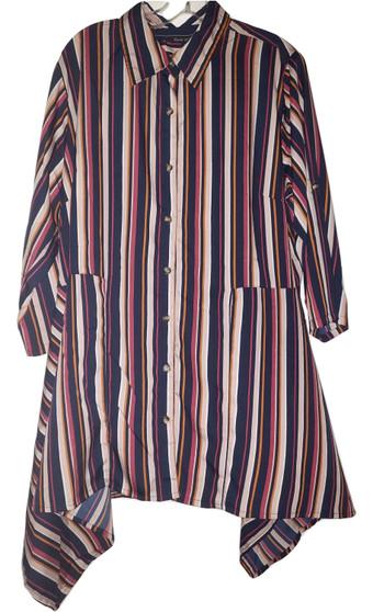 Burgundy Stripe Button Down Top