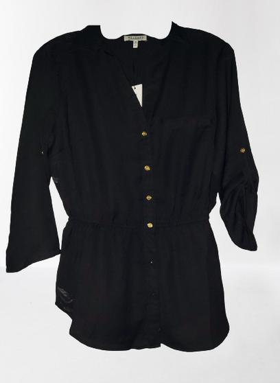 Black Waist Button Up Top