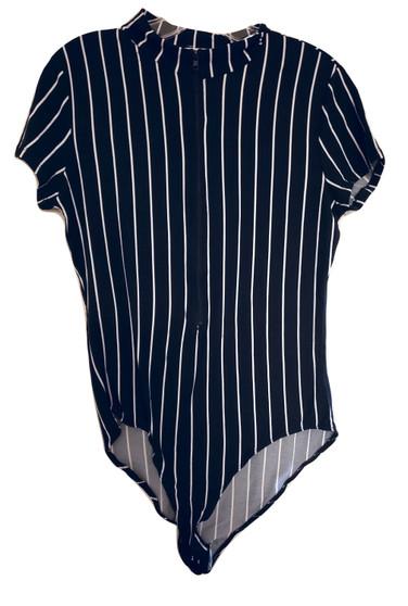 Black Stripe Zipper Body Suit