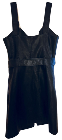Black Buckle Zip Pull Up Dress