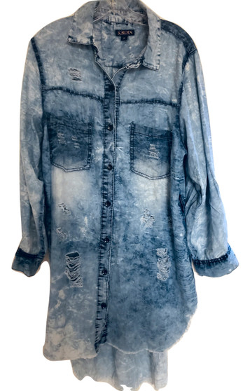 Lite Blue Jean Ripped Wash Long Hilo
