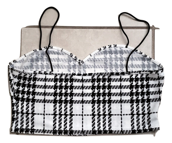 Black White Checkered Crop
