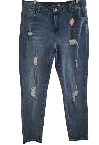 Blue Med Ripped Jeans