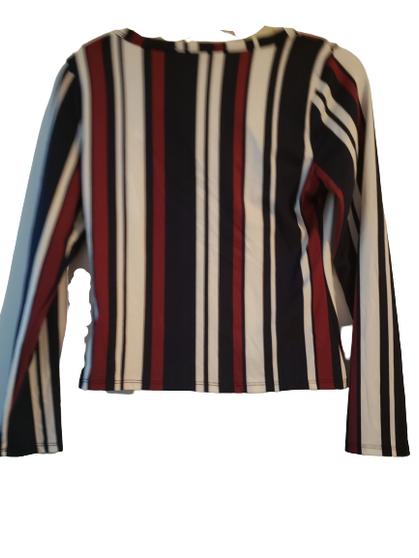 Burgundy Navy White Stripe