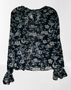 Black Floral Chiffon Ruffle Blouse