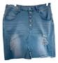 Blue Jean Distress Mid Skirt