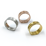 Gold, Rose Gold and Sterling Silver Concave Rings