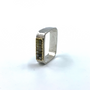 Square Ring With Two Raws Of Cube Rough Cut Diamonds