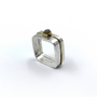 Double Square Rings With Cube Rough Cut Diamond