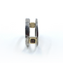 Double Round Rind With Two Cube Rough Cut Diamonds