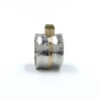 14K Gold & Sterling Silver Ring With a Cube Rough Cut Diamond